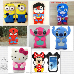 For apple iphone 6 4.7inch 3D cartoon animal silicone case, Herio kitty stich minions silicone rubber cover cases for iphone 6