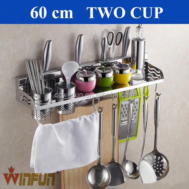 60cm Double cup Stainless Steel kitchen wall mounted corner shelf