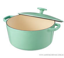 wholesale green enamel coated non-stick cast iron cookware/kitchenware casseroles
