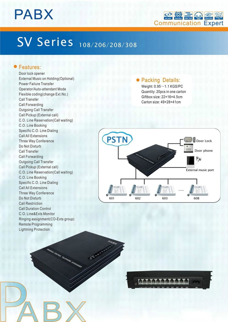 Hot selling 8 extension lines PBX for soho business telephone PABX system
