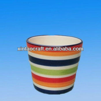 mini indoor ceramic stripe Planter pot