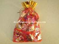 red and golden printed wedding candy organza bag with golden cord ,organza gift bag ,promotional organza bag satin candy bag