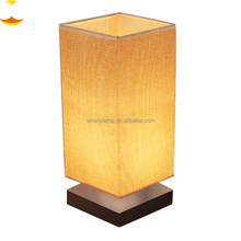 A027,Zhongshan Factory New Design Square Fabric Shade Wooden Table Lamp