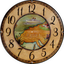 Round wall clock wood modern design for living room,wall art clock