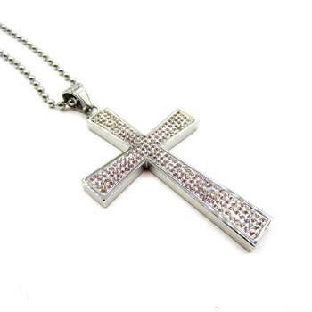 Large Stainless steel diamond crystal cross pendant fantasy silver jewelry pendant