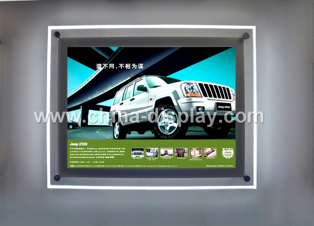 Advertising acrylic slim light box crystal led display holder a4