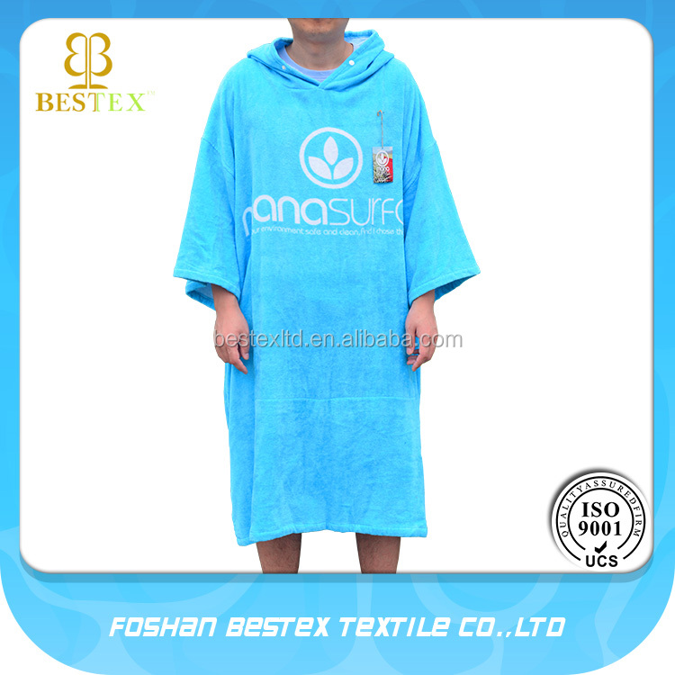 Beach hooded towel surf robe with short sleeves