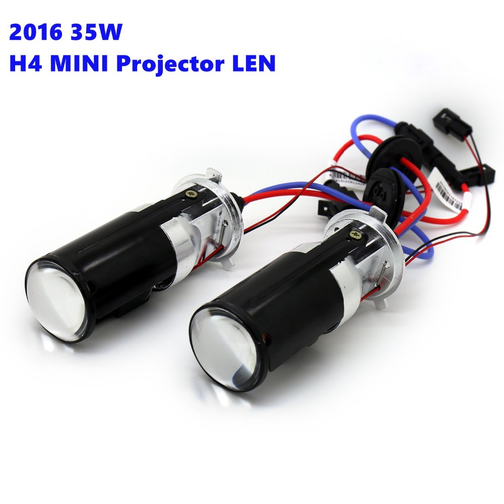"2016 New Car Accessories Extreme Bright 1.5"" MINI Projector Lens H4 BI-Xenon HID High Low Motorcycle Light"