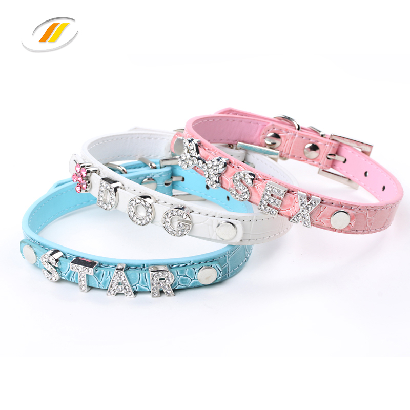 Alphabet Slide Letters Charms PU Leather Pet Dog Cat Collar
