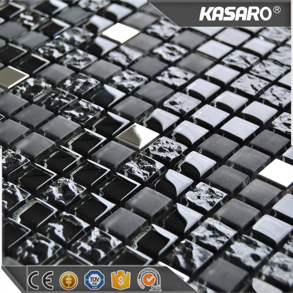 Black Metal Mix Glossy/Matt Mosaic Glass Tiles, Tiles Mosaic Supplier