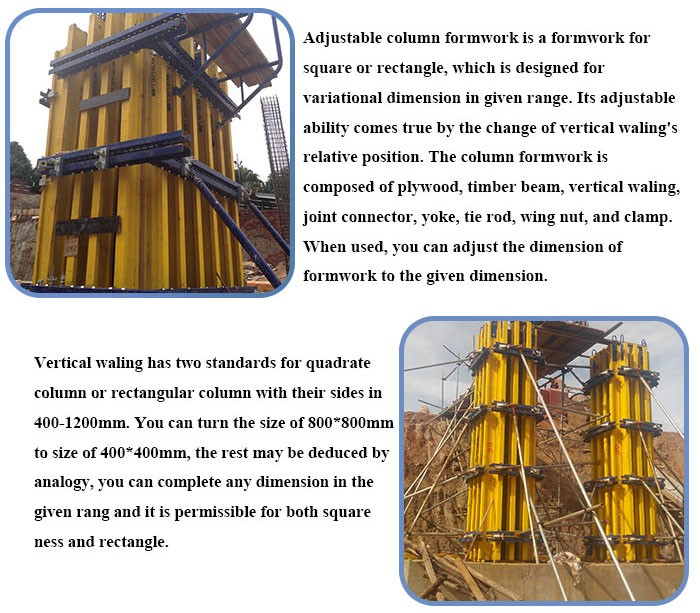 hot sale adjustable plywood concrete column formwork