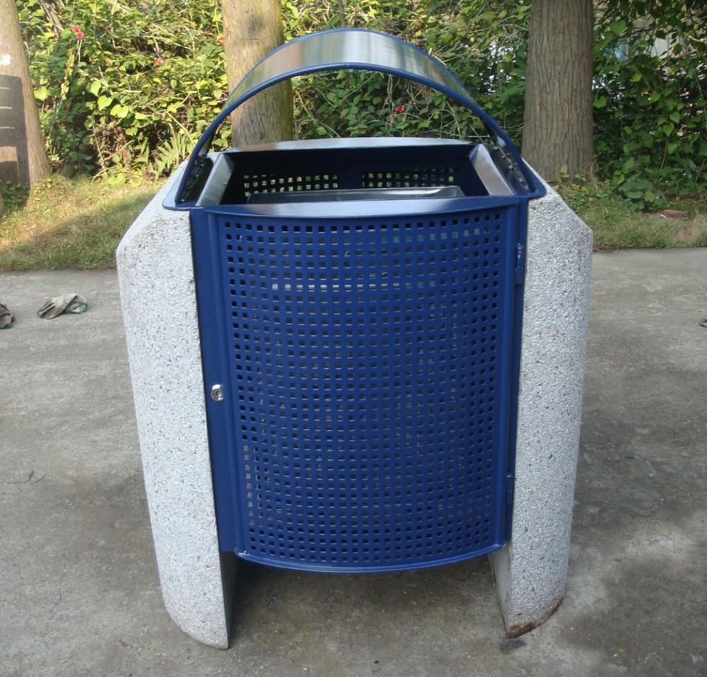 powder coated steel street trash bin outdoor metal waste bin