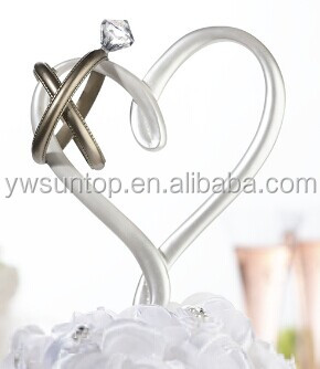 Cheap graceful Heart with Rings Cake topper