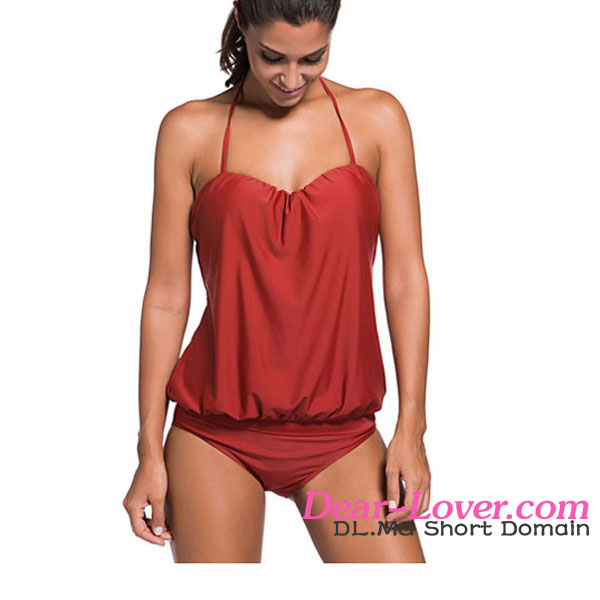 Ladies Swimming Suits 2017 Hotest Sporty Style Sexy Burgundy Two Piece Tankini