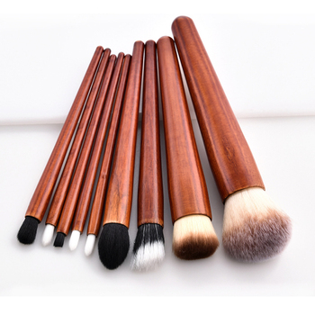 9pcs wholesale wooden handle brush private label pinceis maquiagem makeup brushes