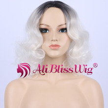 Heat Resistant Fiber Hair Synthetic Short Straight Wavy None Lace Full Wig Dark Roots Ombre White Two Tone Middle Part Wigs