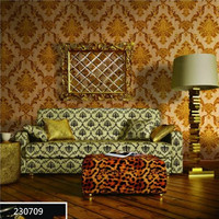 2016 beautiful classic damask pvc wallpaper/Economic indian restaurant wall decoration wallpaper