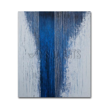 Modern Home Decor Textured Blue Lines Canvas Wall Art Painting Abstract