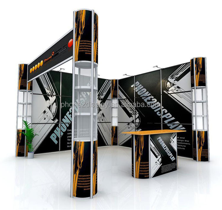 standard 3x3m portable exhibit booth material with twist showcase stands and fabric banner wall easy set up recycling and reuse.
