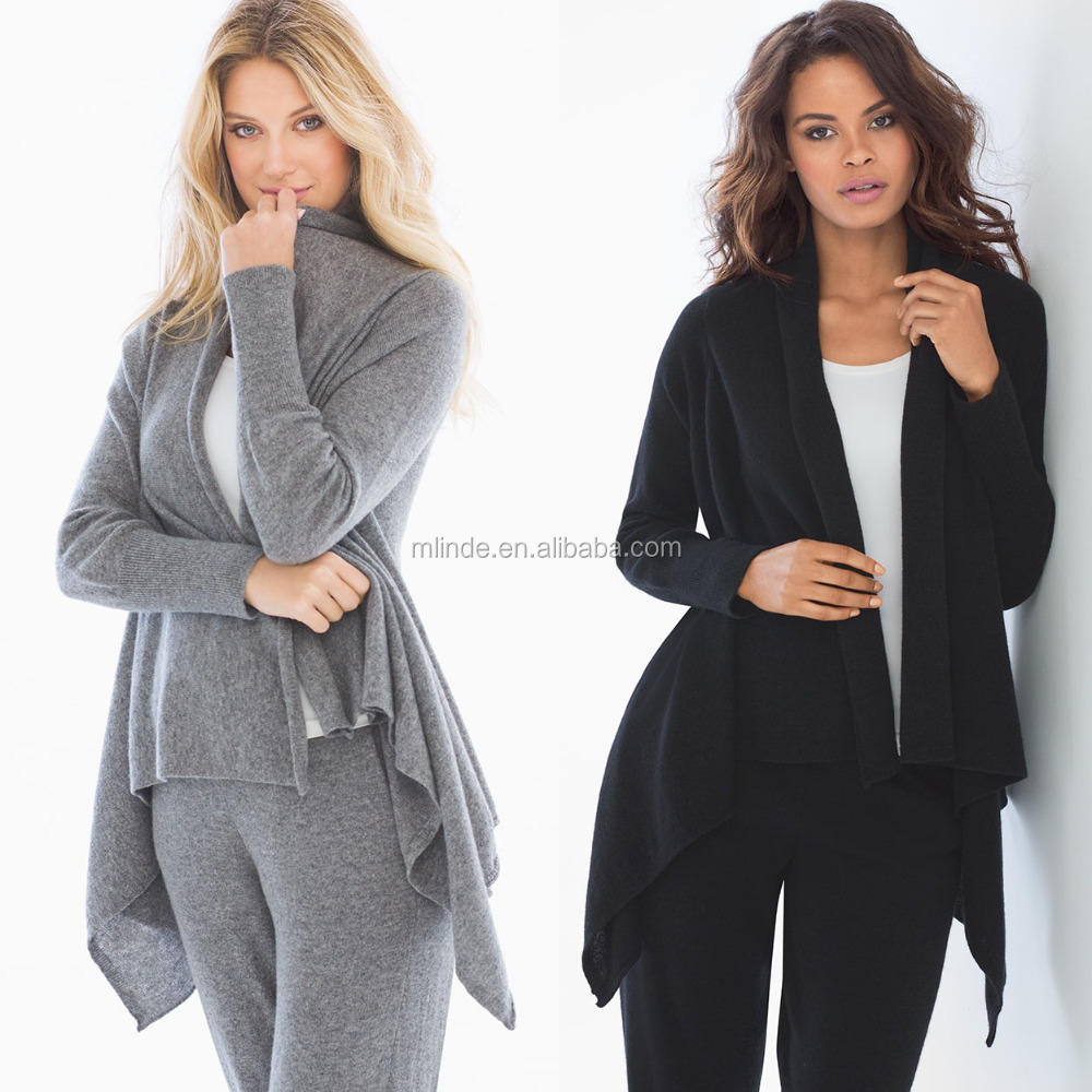 Cashmere Wool Wholesale Clothing Fashion Women Cardigan Blend Drape Wrap Long Sleeves Cardigan Sweater with Ribbed Detail