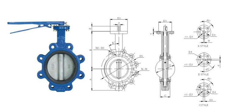 PN6~PN16 Large size with worm gear flanged carbon steel wafer butterfly valve
