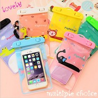New Lovely Cartoon custom waterproof cell phone bag for swimsuit (size 19*11.5cm )