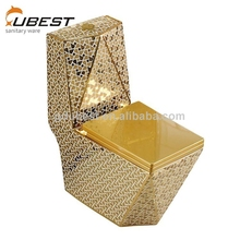 High quality siphon flushing floor mounted bathroom ceramic siphon bowl one piece gold color sanitary ware toilet