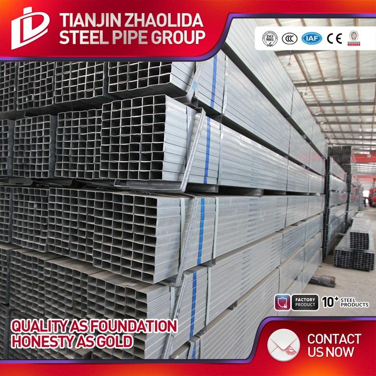 Mild / Carbon building material q195/q235 erw welded pre galvanized square structure steel pipe made in Tianjin China