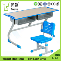 Promotion Double Seater School Desk And Chair For Sales