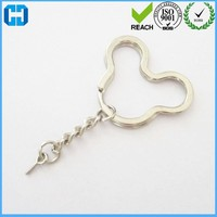 Nickle Plated Mickey Mouse Metal Keyrings With Chain And Eye Screw