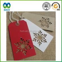 Snow shaped hollow paper cards/paper cards with die cutting snow/Xmas colour without logo hang tags cards