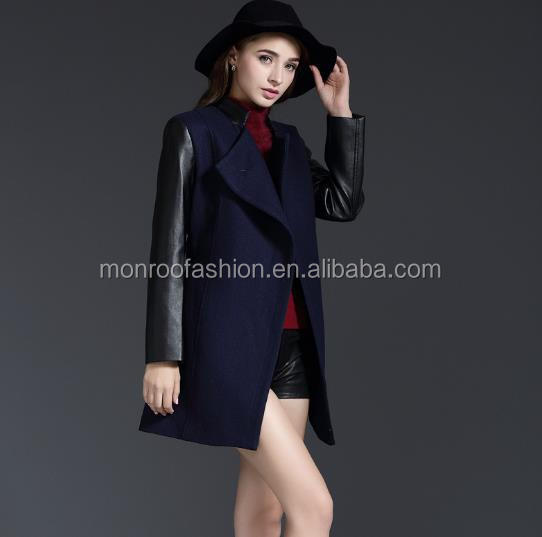 monroo Autumn Winter New Design British Womens Fashion High Quality Leather Sleeve Wool Overcoat