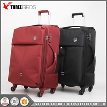 Promotional cheap luggage bags nylon fabric trolley luggages with 4 wheels for adult