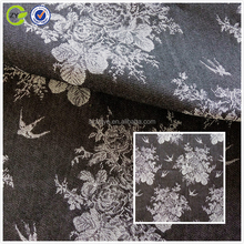 2017 Keqiao fabric denim flower jacquard fabric for garment