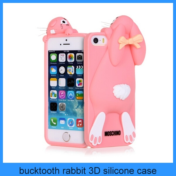 For apple iPhone 5 cute bucktooth rabbit 3D animal silicone case