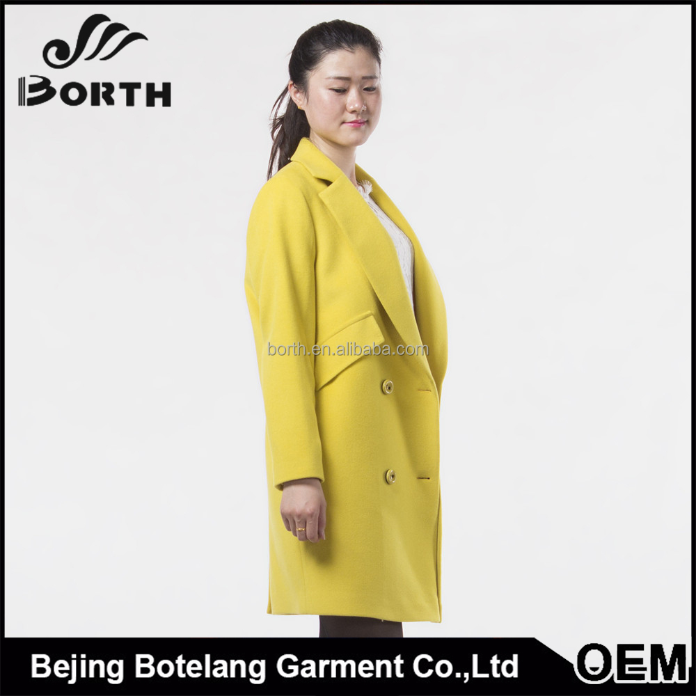 2016 Autumn and winter light yellow color fashion and young cashmere coat for Women and girls