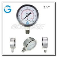 High Quality 2.5 inch 63 mm stainless steel bourdon tube oil-filled liquid gauge pressure manometer