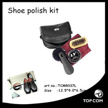 PU leather case promotional shoe polish set travel shoe care kit