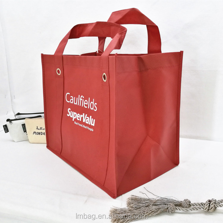 Removable pp plastic board insert air hole strong tote shopping printed promo 90gsm non woven bag