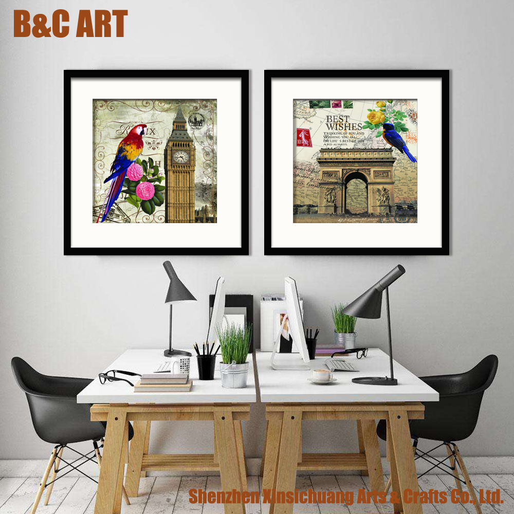 2 Pieces Canvas Panel Printings Famous Parrot Paintings for Restaurant Decoration