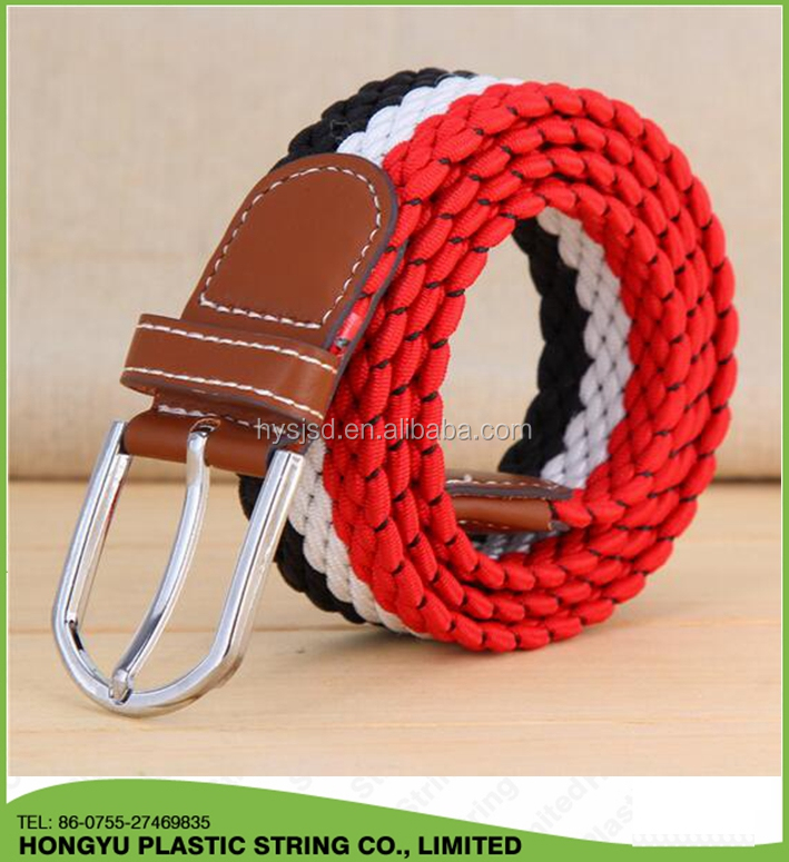 Mens Braided waist belt Elastic Stretch Belts For Jean
