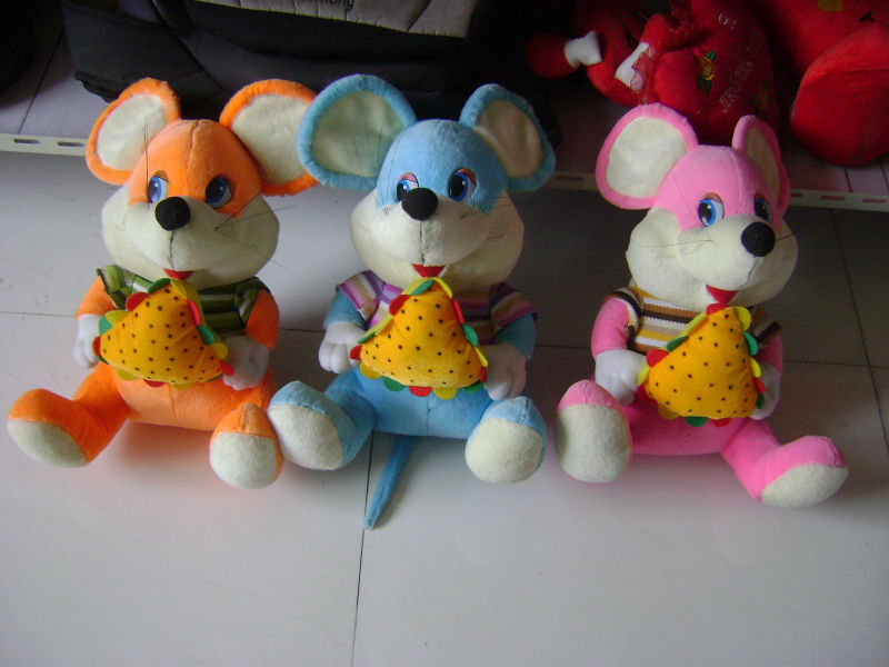 30cm promotional customized stuffed 3-colour plush mouse(mice) wild animal toy with sandwich bread