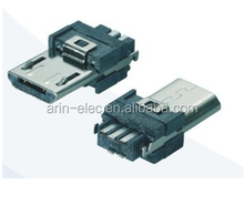 ROHS&REACH compliance Micro USB 5P Male SOLDER 5PIN B TYPE connector