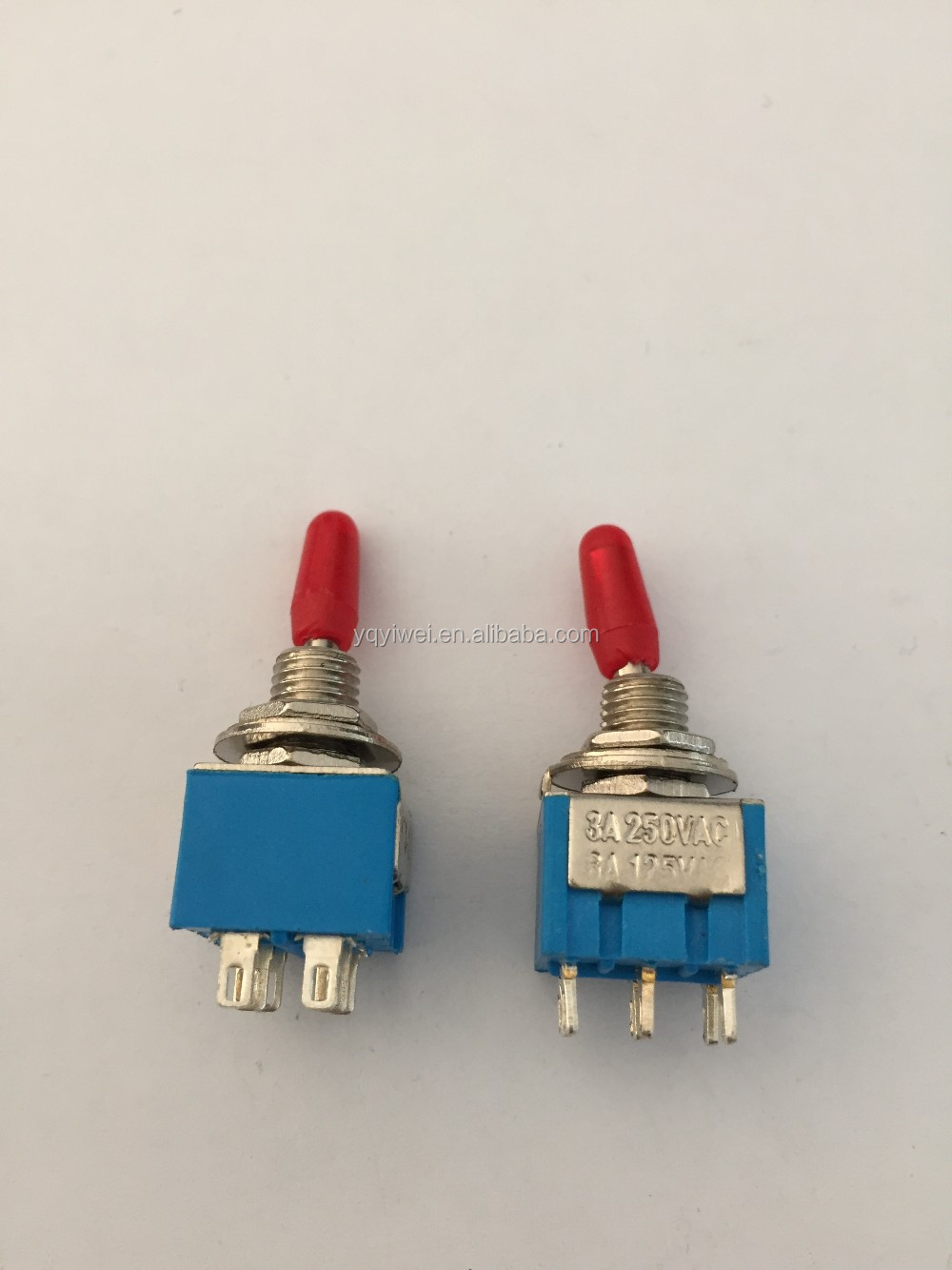 Red cap MTS-202 DPDT six legs toggle switch 6pins on-on silver plated YW2-202