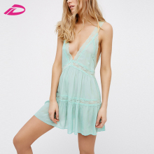 Summer Women Deep V Neck Backless Sexy Dress Female Sleeveless Boho Dress Holiday lace Mini Dress Plus Size