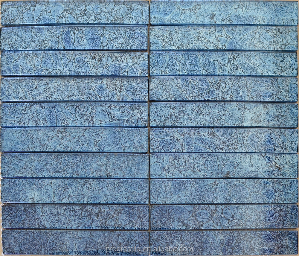Wholesale blue glass mosaic strip online buy best