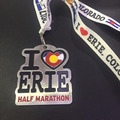 Custom Half Marathon Sport Finisher Gold Silver Medallion Medal With Ribbons