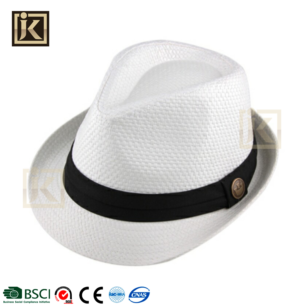 JAKIJAYI 2017 spanish style straw fedora men custom beach hat wholesle hat manufacturer