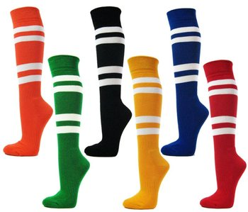 Colorful striped knee high socks