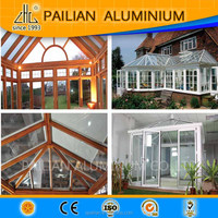 2016 ZHL Beautiful design aluminum sun room, wood grain aluminum profiles for Garden glass house ,outdoor aluminum green house
